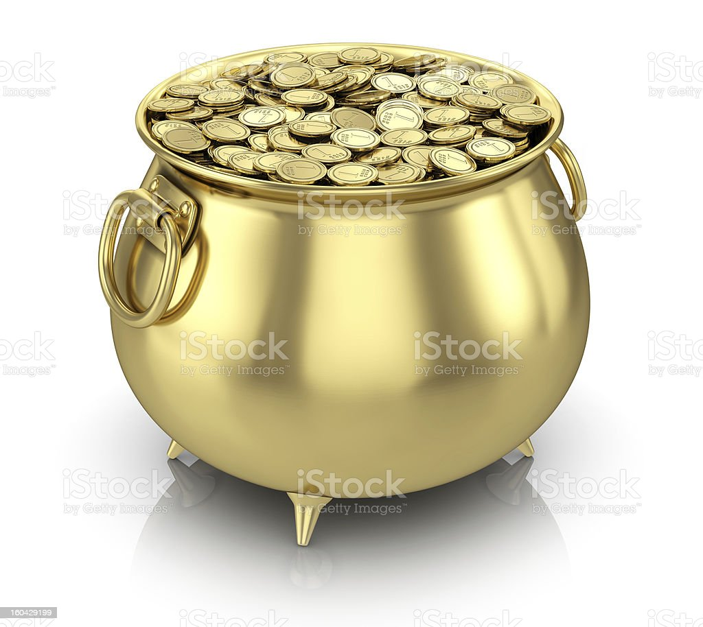 Golden pot full of gold coins against a white background stock photo