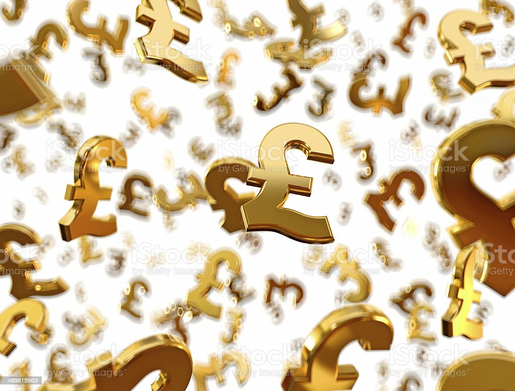 Golden pound sterling signs raining. stock photo