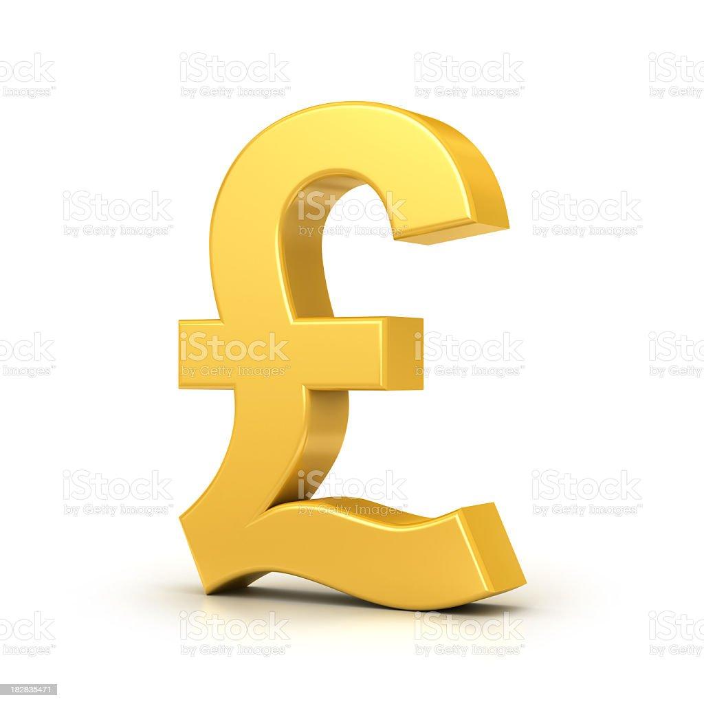 golden pound symbol stock photo