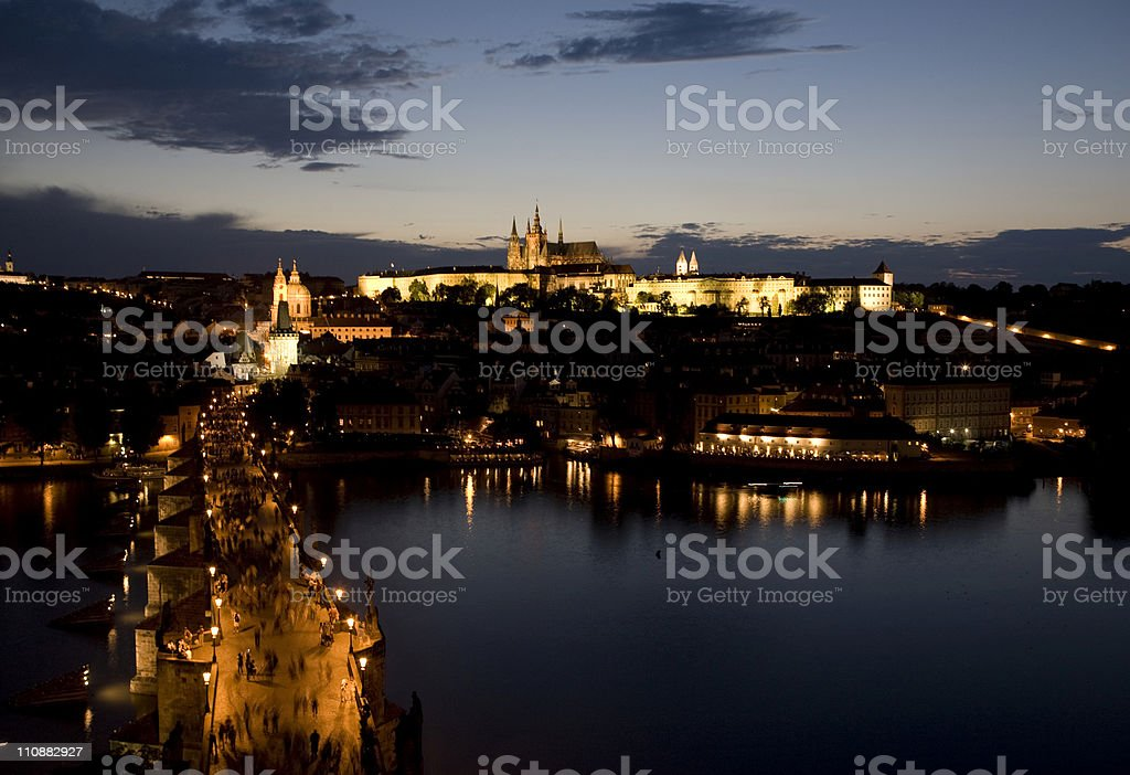 Golden Prague castle and Charles bridge royalty-free stock photo