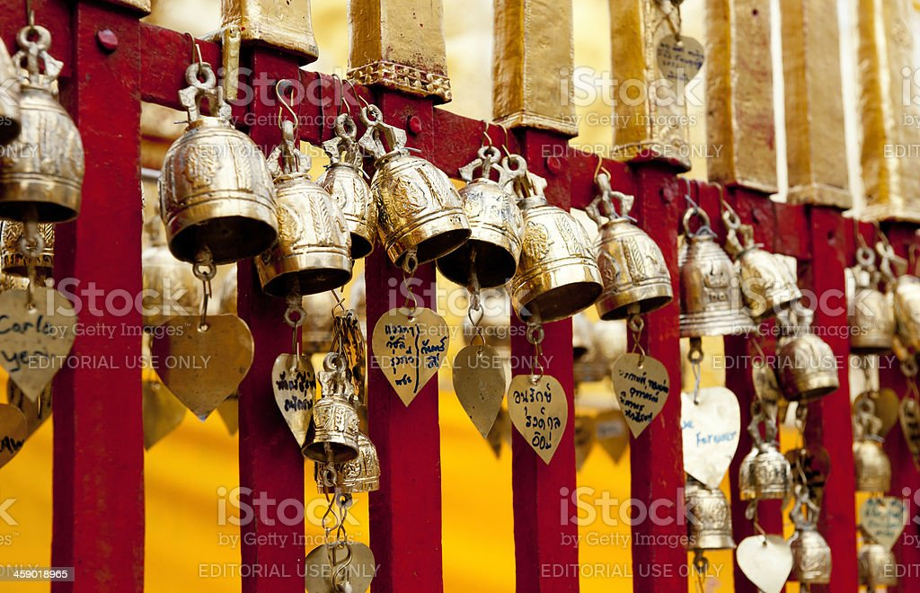 golden prayer bells at the Wat Phrathat Doi Suthep temple royalty-free stock photo