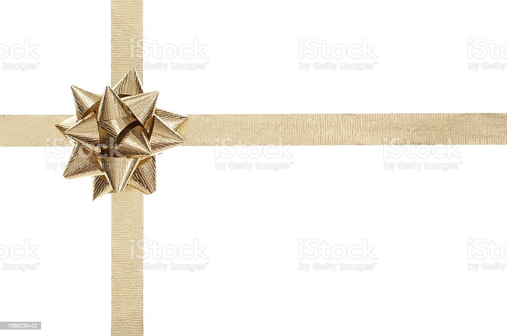Golden present bow and ribbon on white stock photo