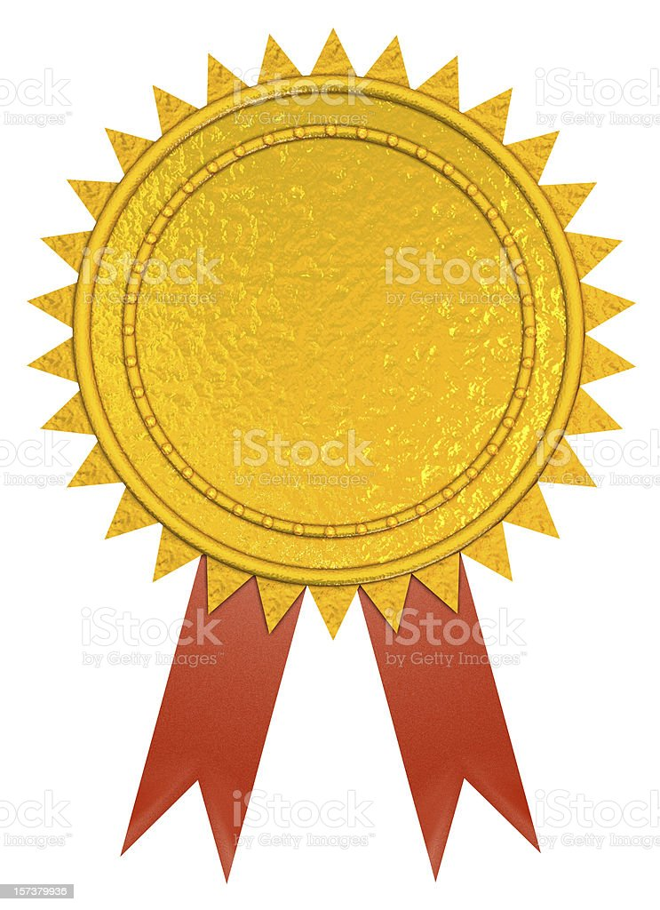 Golden Prize Ribbon (3D) royalty-free stock photo
