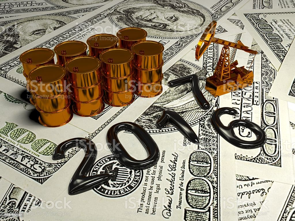 Golden Pumpjack And Spilled Oil On The Money. 3d render stock photo