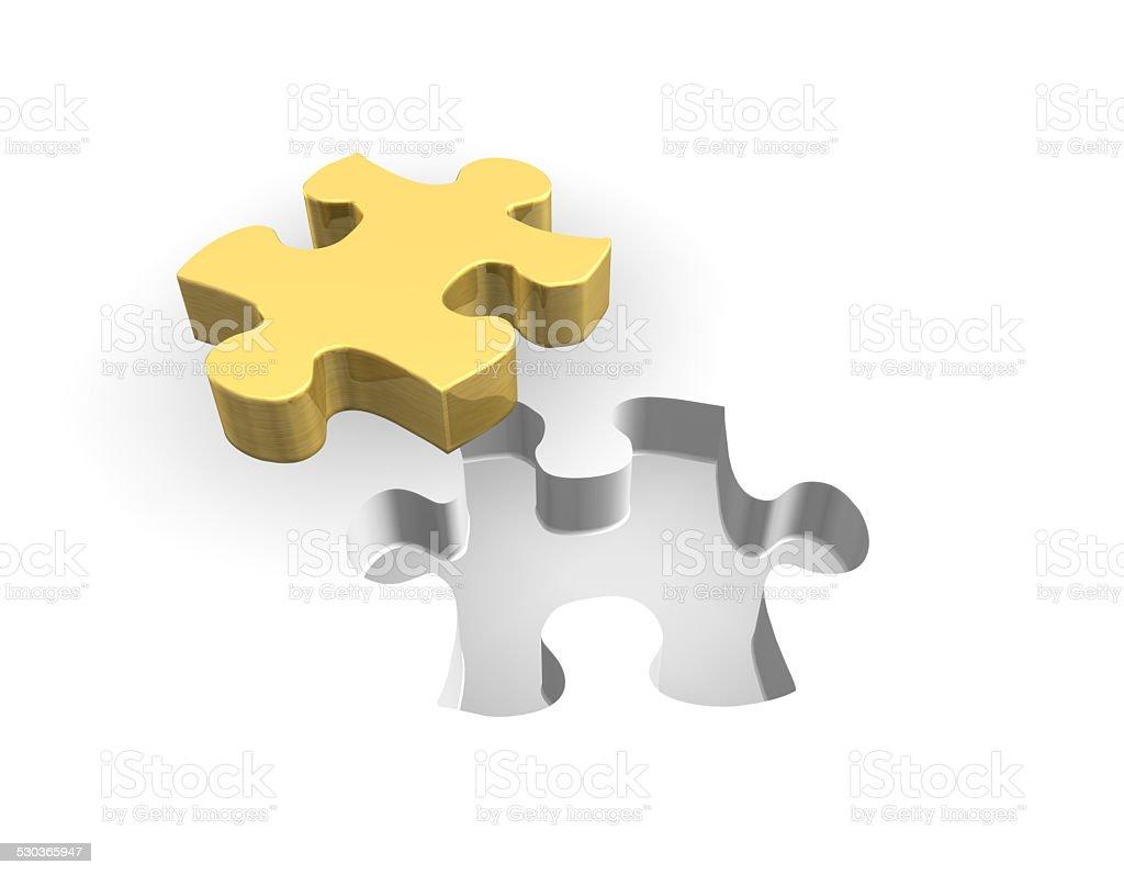 Golden Puzzle 3D stock photo
