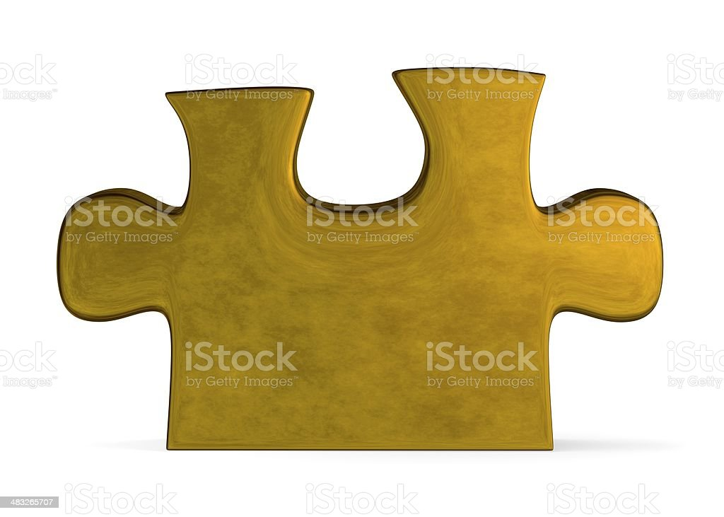 Golden puzzle piece standing on white royalty-free stock photo
