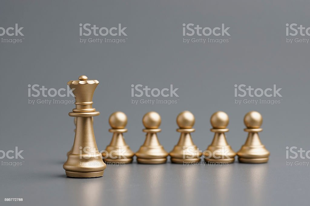 Golden Queen chess stock photo