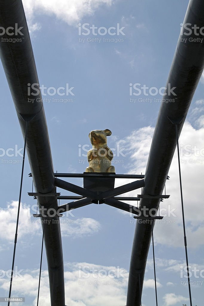 Golden Rat on the Werder Bridge in Hameln stock photo