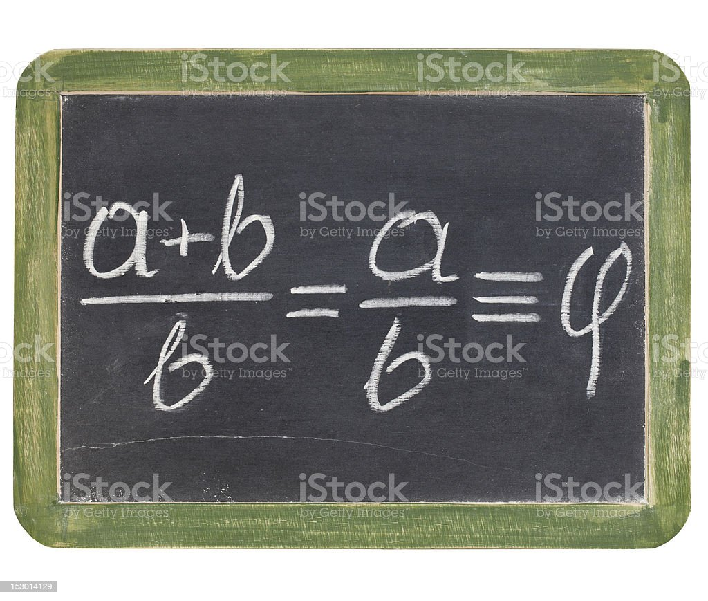 golden ratio on blackboard royalty-free stock photo