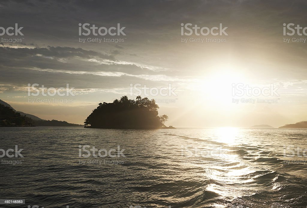 Golden rays over water royalty-free stock photo