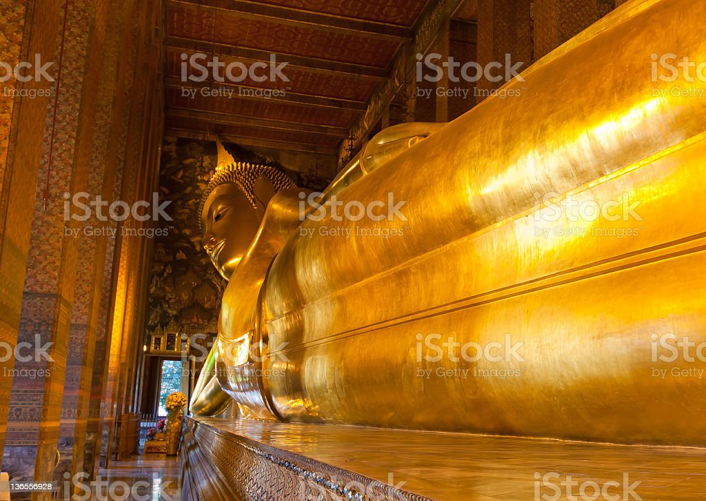Golden Reclining Buddha, Bangkok stock photo