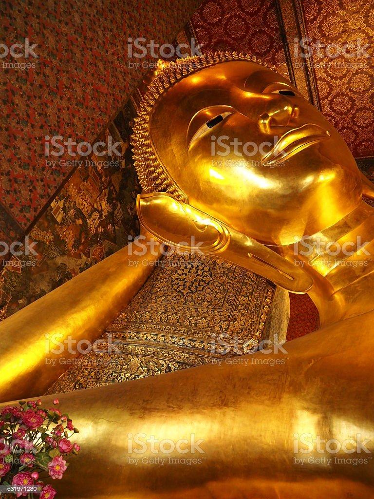 Golden Reclining Buddha Statue At Wat Pho, Thailand stock photo