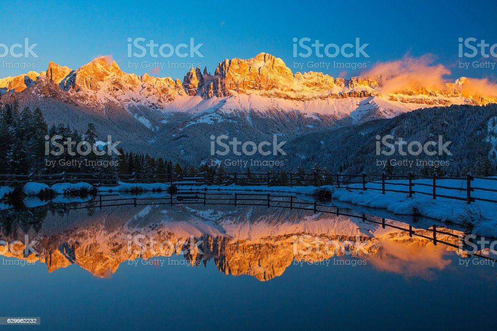 Golden reflection at Catinaccio stock photo
