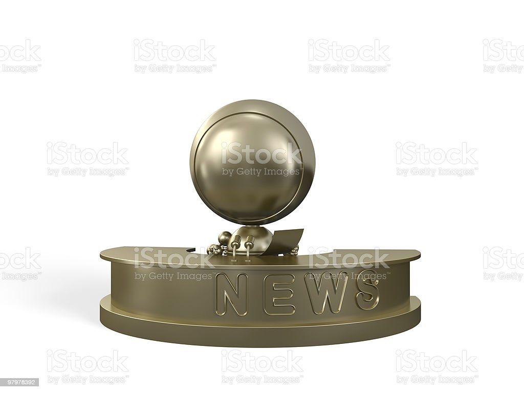 Golden reporter informs about news royalty-free stock photo