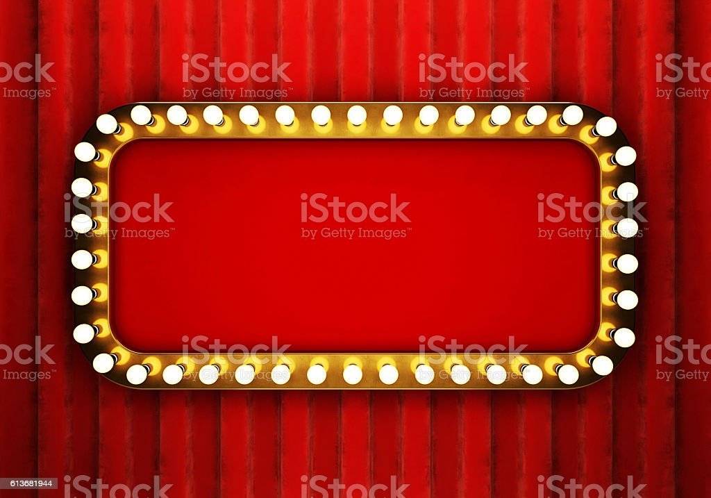 Golden retro banner with red curtain stock photo