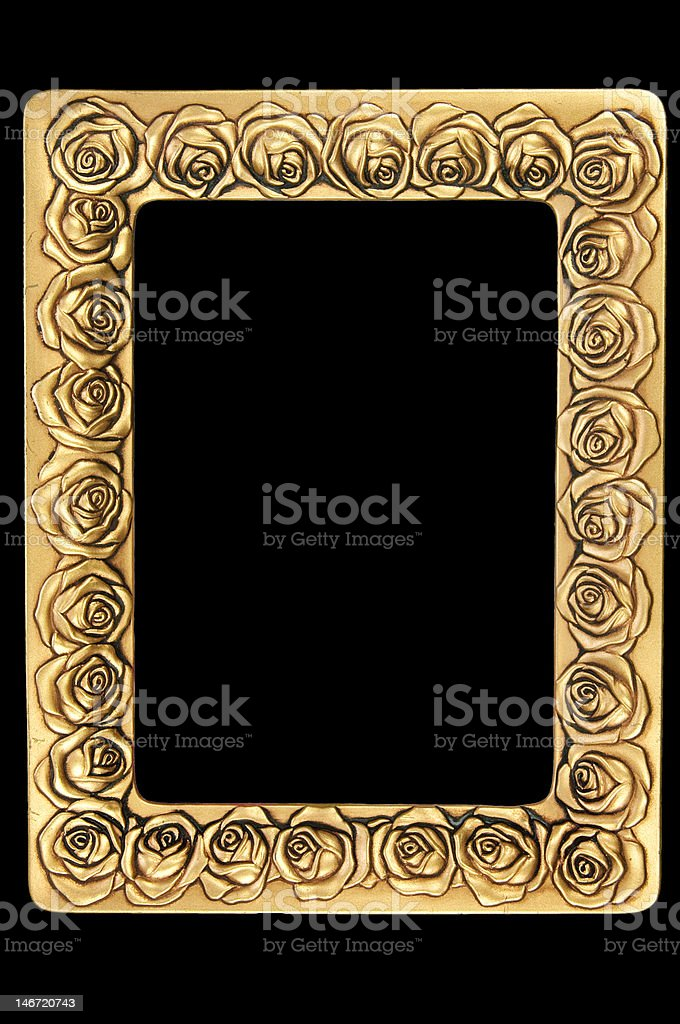 Golden retro photo frame with roses royalty-free stock photo