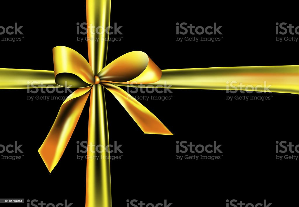 Golden ribbon on a black background stock photo