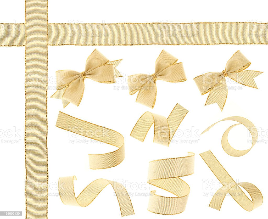 Golden Ribbon (isolated) stock photo