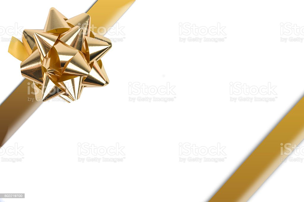 Golden Ribbon With Golden Gift Bow stock photo