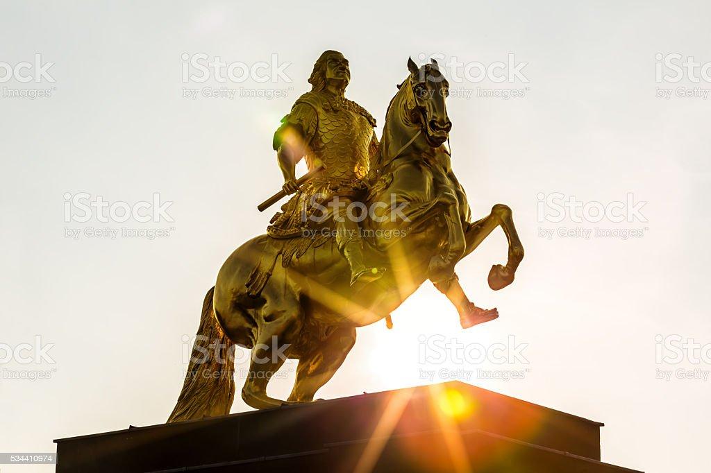 Golden Rider in Dresden stock photo