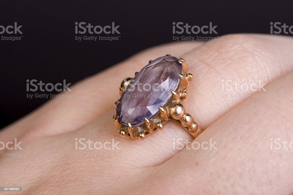 Golden ring at woman hand royalty-free stock photo