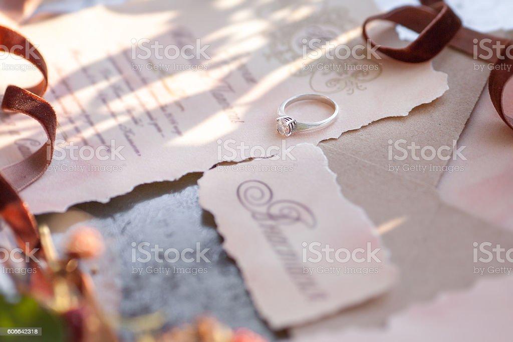Golden ring with diamond stock photo