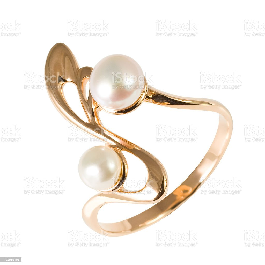 Golden ring with pearls stock photo