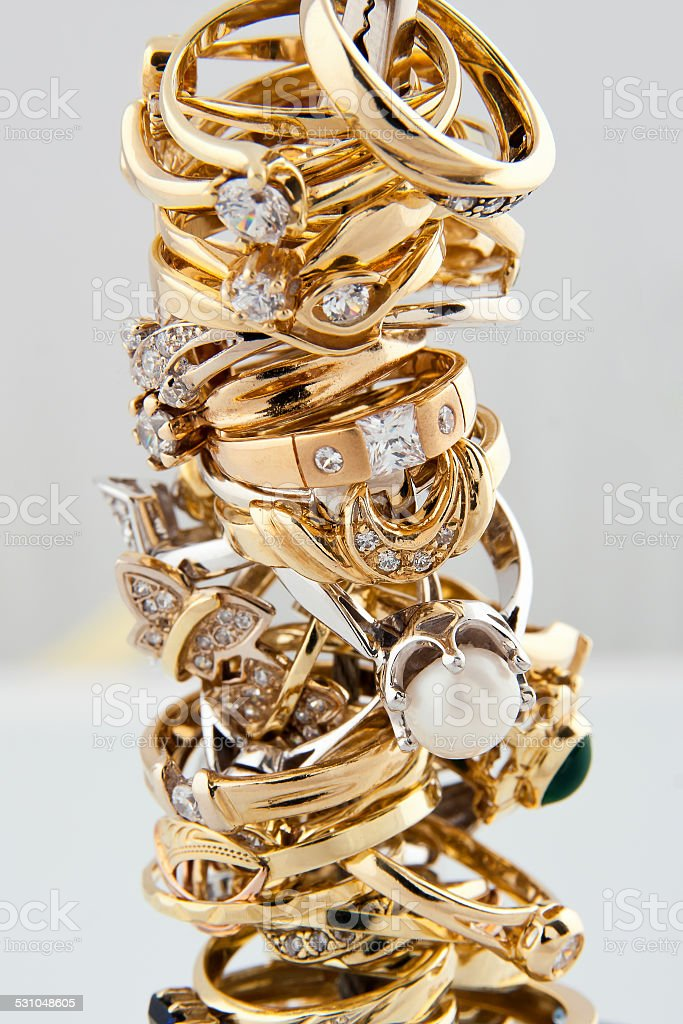 Golden rings collection stock photo