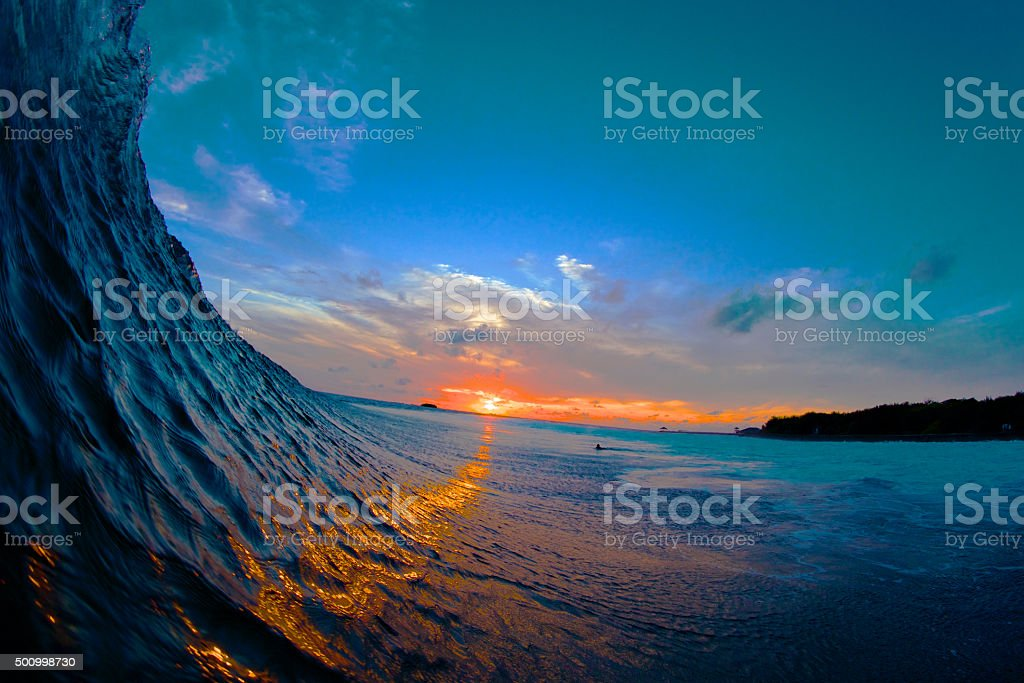Golden road on a wave stock photo