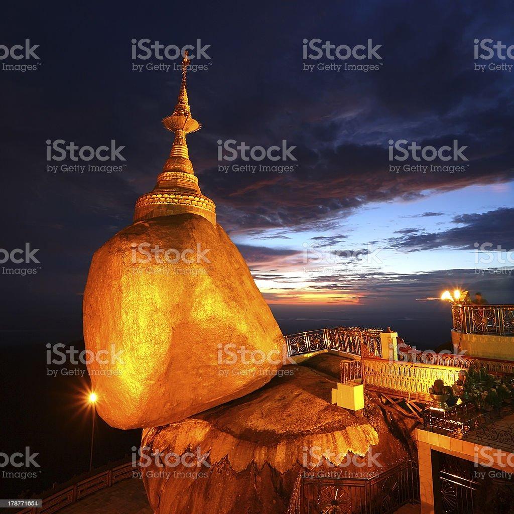Golden rock at Kyaiktiyo Pagoda royalty-free stock photo