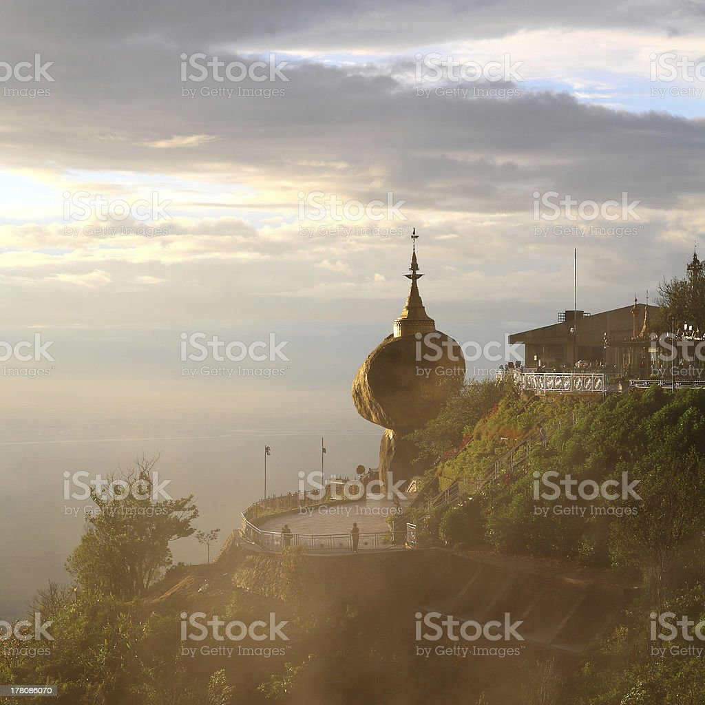 Golden rock at stupa in Myanmar royalty-free stock photo