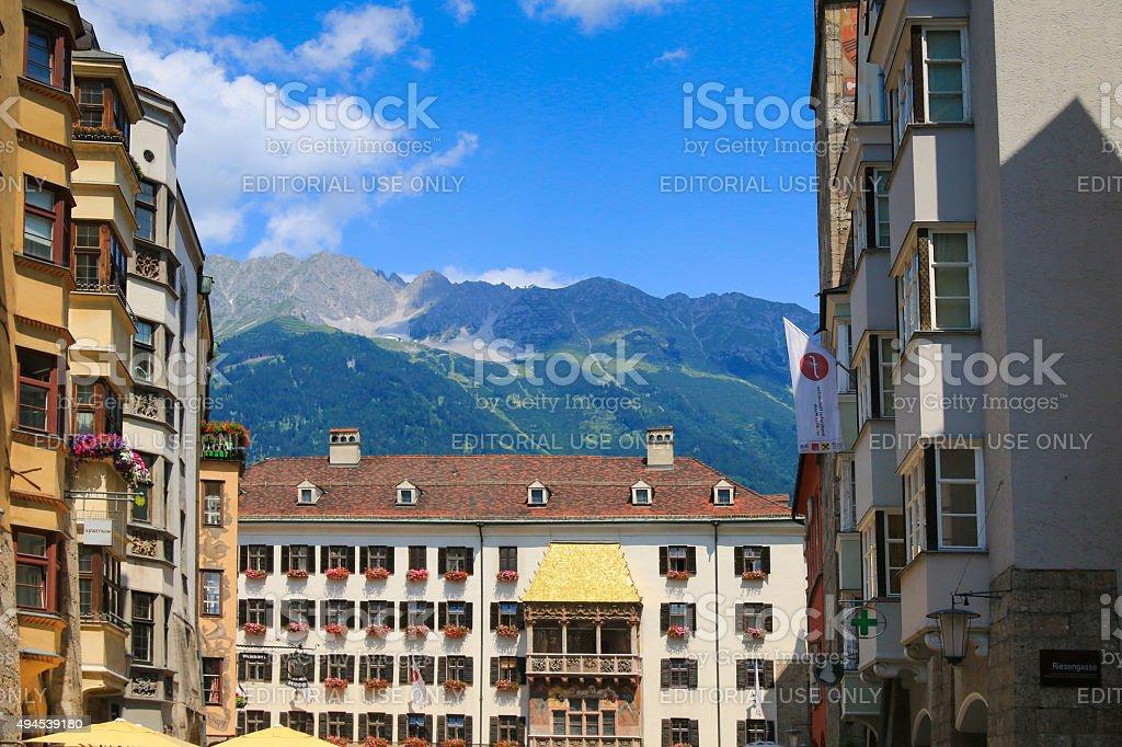 Golden Roof (Goldenes Dachl) in Innsbruck, Austria stock photo