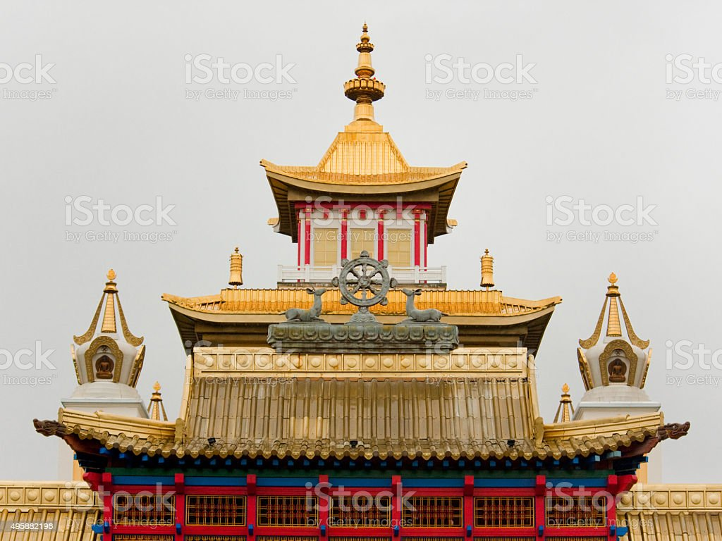Golden roof of a Buddhist temple stock photo