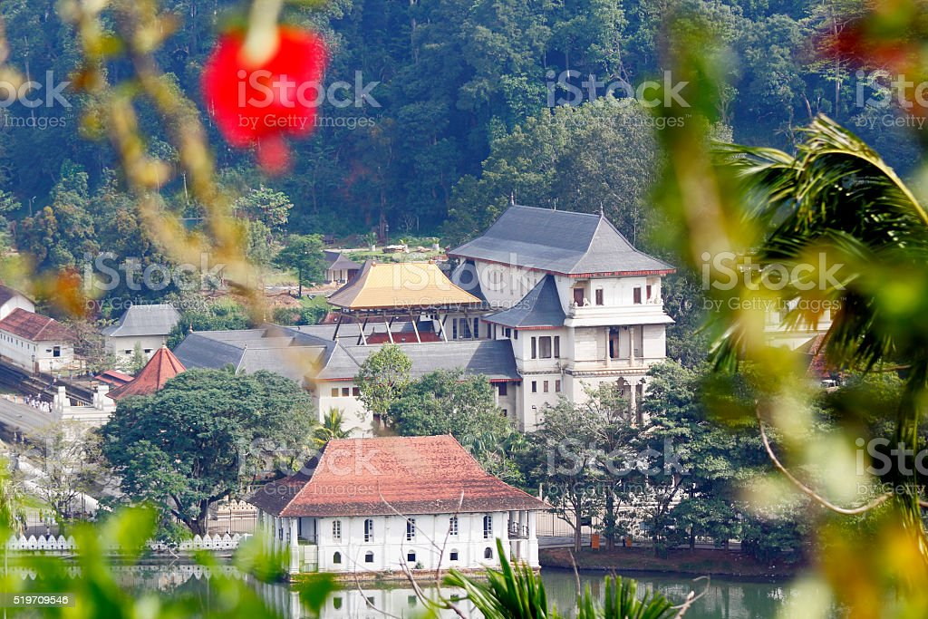 golden roof view of Dalada Maligawa Kandy Sri Lanka temple stock photo