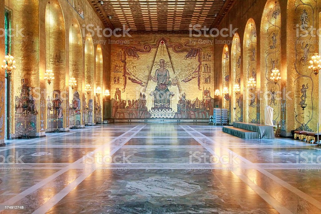 Golden room in Stockholm town hall stock photo
