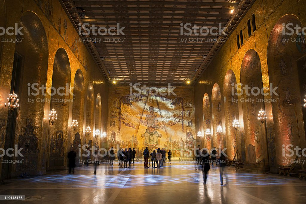 Golden Room of Stockholm City hall royalty-free stock photo