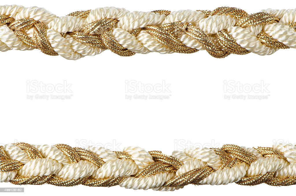Golden rope curtain tassels stock photo