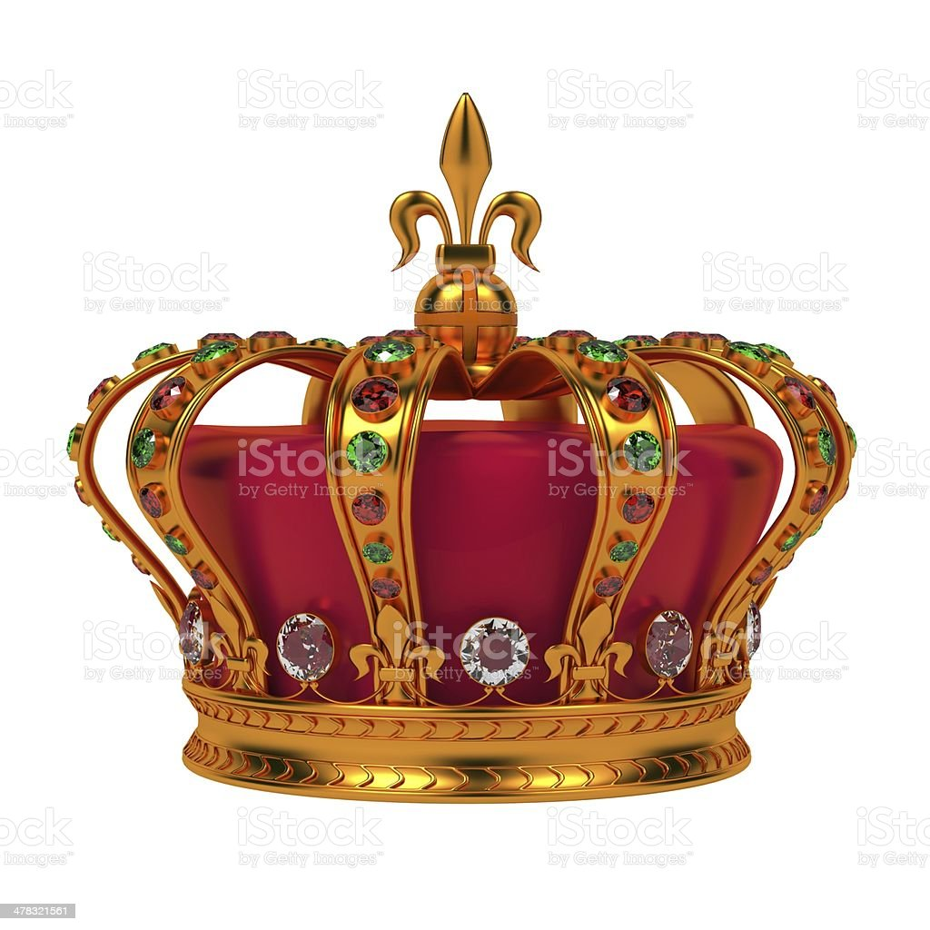 Golden Royal Crown Isolated on White. stock photo
