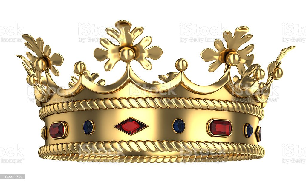 Golden royal crown with red and blue gemstones stock photo