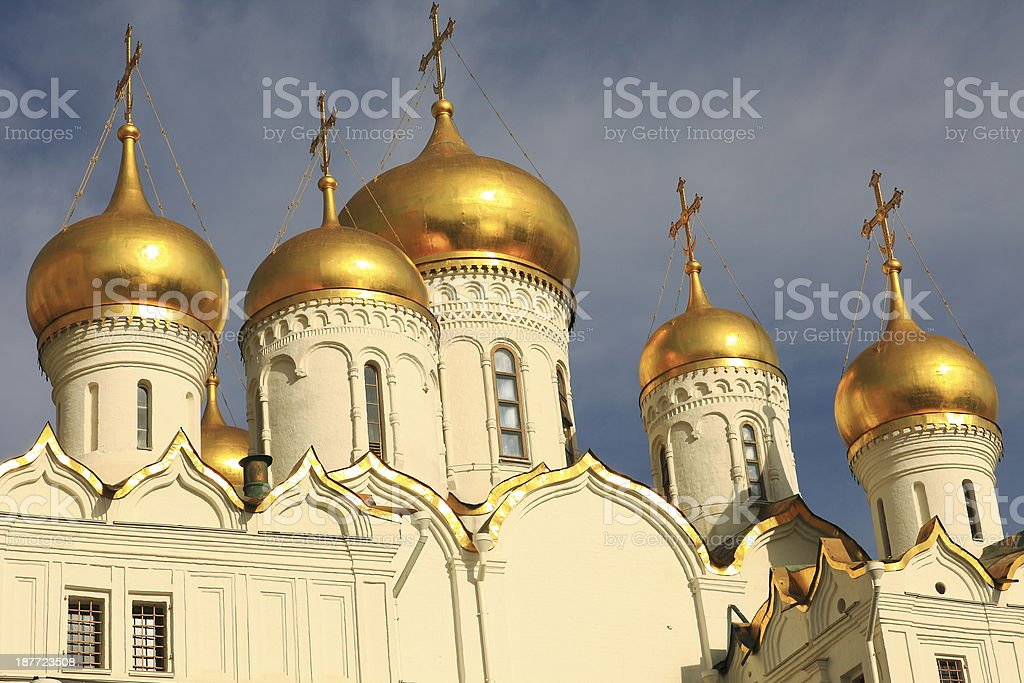 Golden Russian domes inside Kremlin - moscow, Russia stock photo