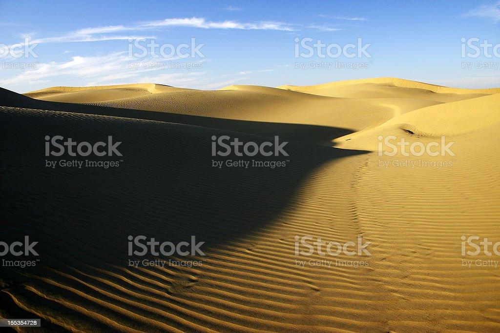 Golden sand dunes in Thar desert stock photo