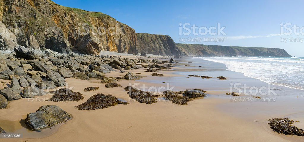 Golden sands, white surf royalty-free stock photo