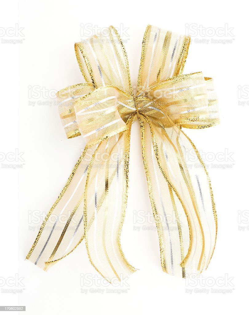 Golden Satin gift bow. ribbon isolated on white royalty-free stock photo