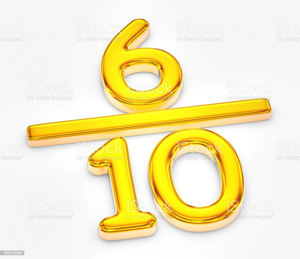 Golden score of six out of ten illustration stock photo