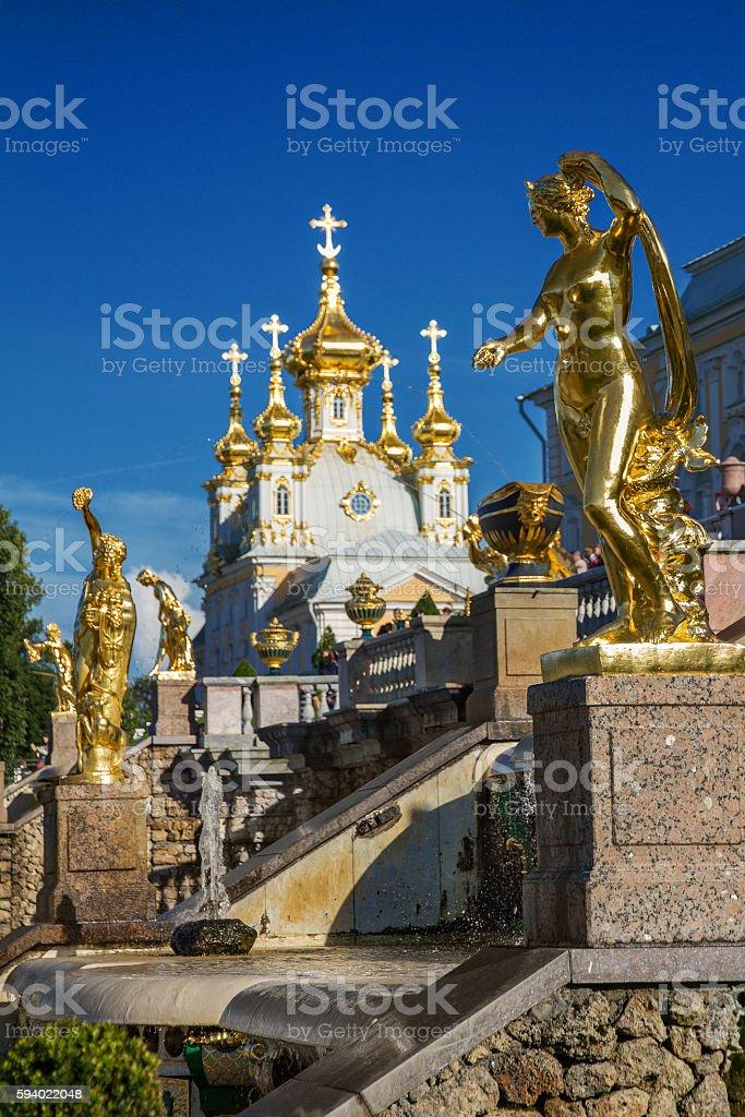 Golden sculpture in Peterhof, St. Petersburg stock photo