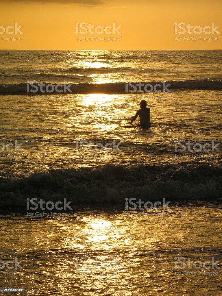Golden sea shine stock photo