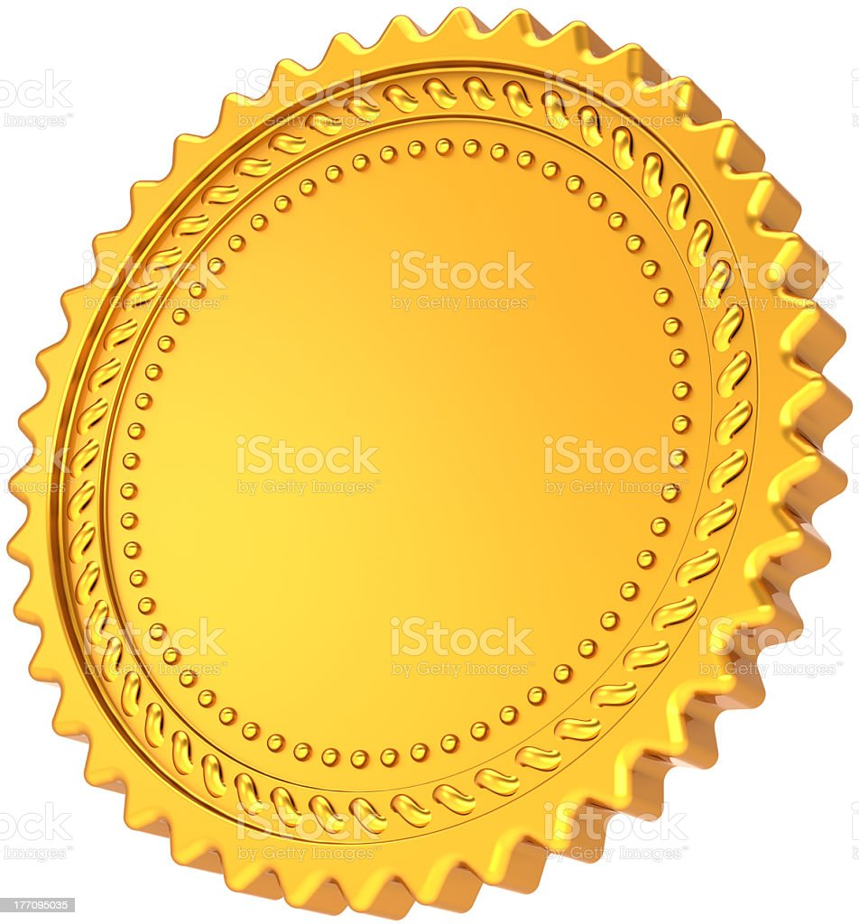 Golden seal blank award medal badge design element royalty-free stock photo