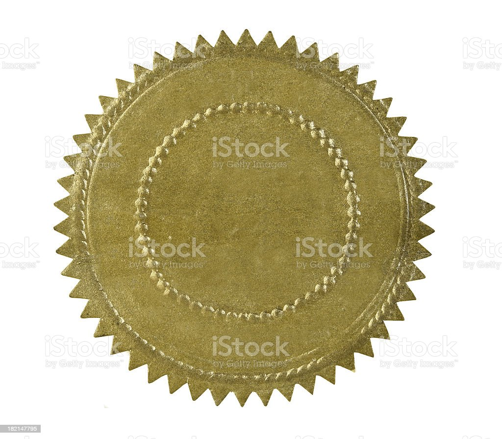 Golden Seal of Approval stock photo