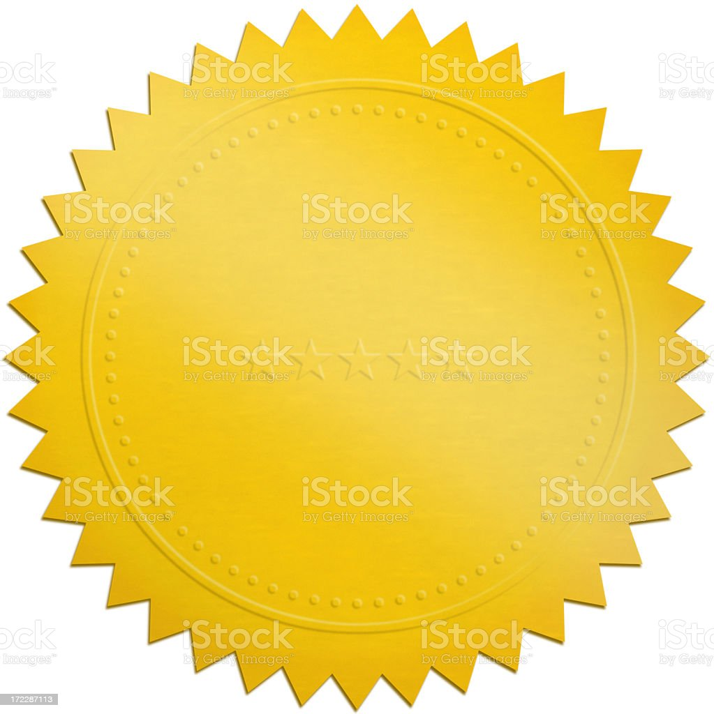 A golden seal on a white background  stock photo