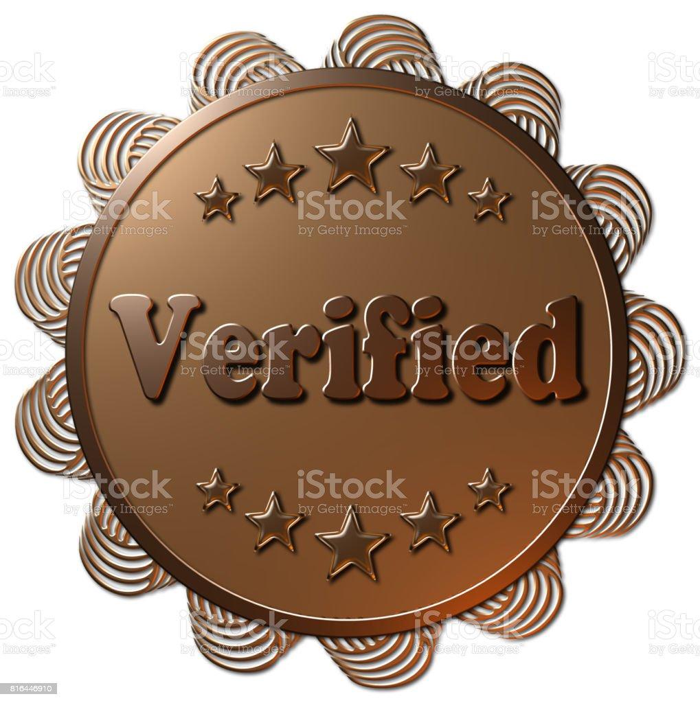 Golden Seal - Verified (Wavy Edge) stock photo